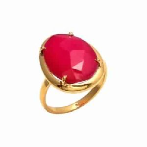 Hot Pink Chalcedony Vermeil Gold Plated Gemstone Ring