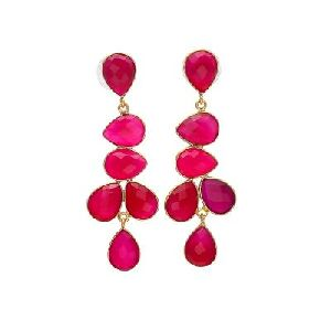 Hot Pink Earrings - Fuchsia Tear Drop Earrings - Sterling Silver Long Earring