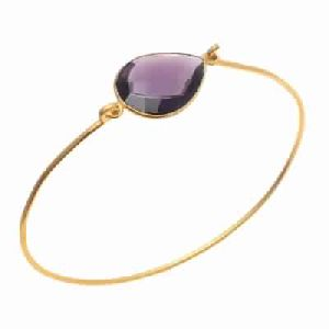 Hydro Amethyst Gemstone Gold bangle