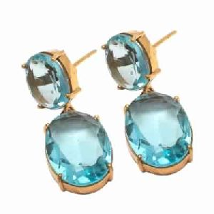 Hydro Blue Topaz Oval Cut gemstone earring