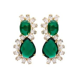 Hydro Emerald and Crystal Quartz Gemstone Earring