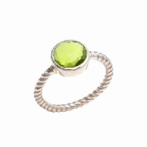 Hydro Peridot Gold Plated Ring Vermeil Gold Ring