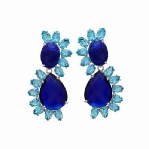 Hydro Sapphire and Hydro Blue Topaz Gemstone Earring