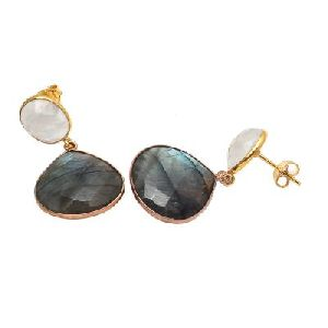 Labradorite And Rainbow Moonstone Earring
