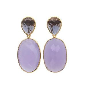 Lavender Chalcedony And Smoky Quartz Earring