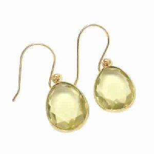 Lemon Quartz Stud Earring