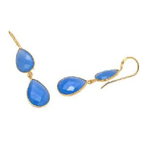 Light Blue Chalcedony Pear Drop Earring