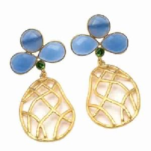 Light Blue Chalcedony Silver Fashion Earring