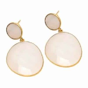 Milky And Pink Chalcedony White Gemstone Earring