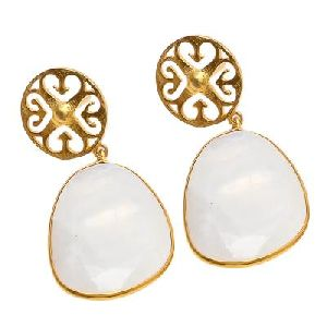 Milky Chalcedony Fancy Shape Gemstone Earring