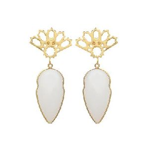 Milky Chalcedony New Fashion Designer Earring