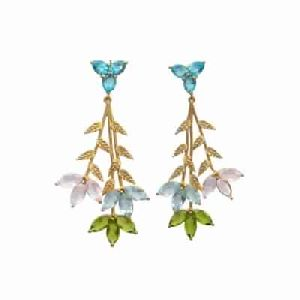 Multi Gemstone Marquise And Leaf Designer Earring