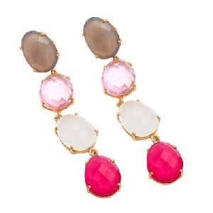 Multi Stone Multi Color Gemstones Earring