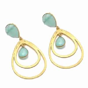 New Fashion Aqua Chalcedony Earring