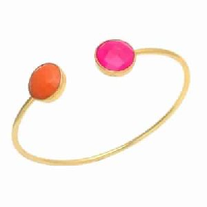 Orange and Fuchsia Chalcedony Gold Plated Bangle