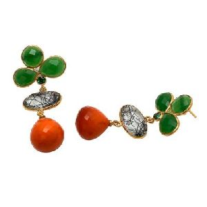 Orange Chalcedony and Black Rutile And Green Onyx Earring