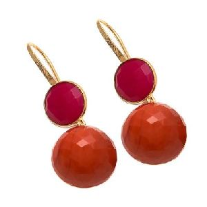 Orange Chalcedony And Fuchsia Chalcedony Earring