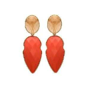 Orange Chalcedony And Peach Chalcedony Silver Earring