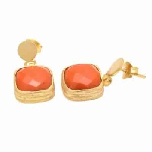 Orange Chalcedony Cushion Shape Gemstone Earring