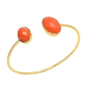 Orange Chalcedony Double Gemstone Earring