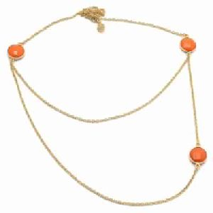 Orange Chalcedony Long Chain Necklce