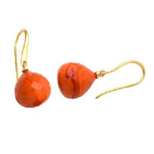 Orange Chalcedony Onion Shape Gemstone Earring
