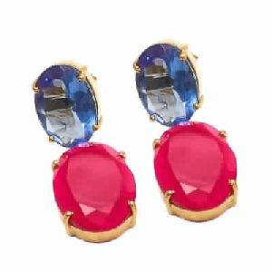 Oval Cut Fuchsia Chalcedony And Tanzanite Earring
