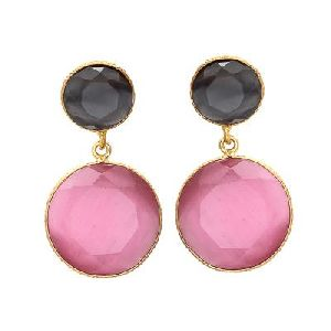 Pink and Black Monalisa Earring