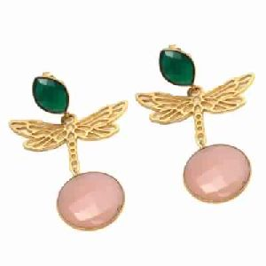 Pink Chalcedony and Green Onyx New Designer Earring