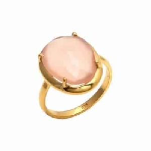 Pink Chalcedony Ring Gold Prong Set Ring