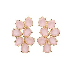Pink Chalcedony Small Pink Gemstone Pear shape Stone Earring