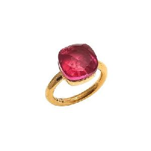 Pink Tourmaline Cushion Shape Handmade Silver Ring