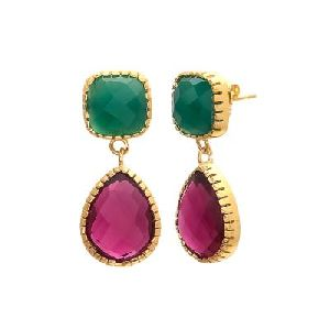 Pink Tourmaline Hydro And Green Onyx Earring