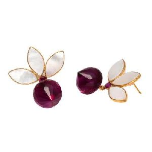 Pink Tourmaline Hydro and Pearl Shell Earring