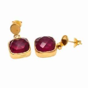 Pink Tourmaline Hydro Gemstone Earring