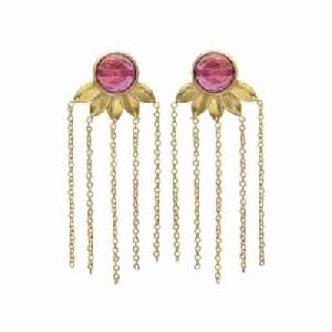 Pink Tourmaline Hydro new Designer Chain Earring