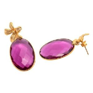 Pink Tourmaline Oval shape Earring