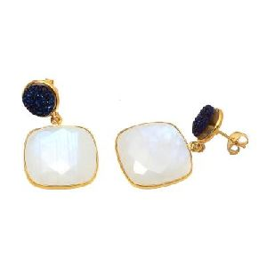 Rainbow Moonstone And Blue Druzy Earring
