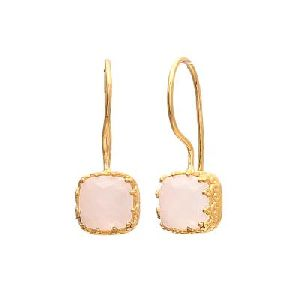 Rainbow Moonstone Cushion Shape Earring