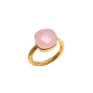 Rose Chalcedony 925 Sterling Silver Cushion Shape Gemstone Ring