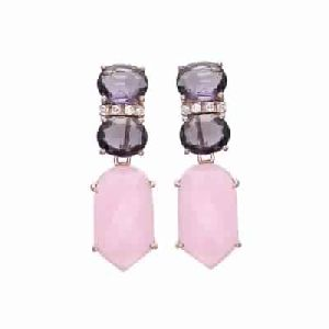 Rose Chalcedony and Amethyst Hydro Gemstone Earring
