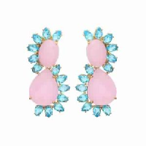 Rose Chalcedony and Blue Topaz Hydro Gold Plated Earring