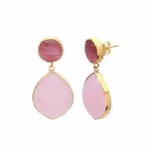 Rose Chalcedony and Pink Monalisa Gemstone Earring