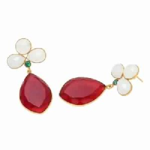 Ruby Gemstone With Milky Chalcedony Earring