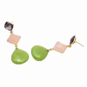 Sea Green and Pink Chalcedony And Amethyst Quartz Earring