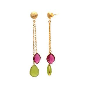 Sea Green Chalcedony And Pink Tourmaline Hydro Earring