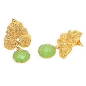 Sea Green Chalcedony Round Leaf Earring