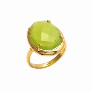 Sea Green Chalcedony Vermeil Gold Ring