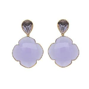 Silver Lavender Chalcedony And Iolite Gemstone Earring