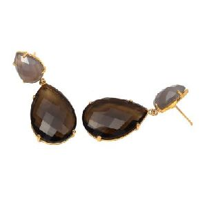 Smoky Quartz And Gray Chalcedony Earring